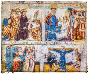 @lauranaturalmente pinturas de estilo gótico de finales del siglo XVI de la Catedral de Mondoñedo - Mondoñedo ciudad Pueblo de Mondoñedo