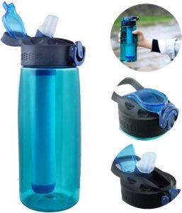 Portátil Botella de Agua Filtrada para Senderismo y Viajes