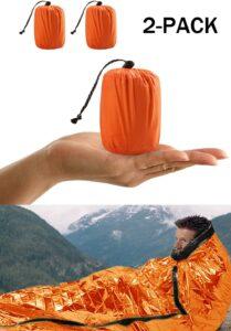 Saco de Emergencia Dormir,Aislamiento Térmico, Exterior Brillante Naranja Fácil de Localizar Portátil