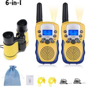 Walkie Talkie y Prismaticos Niños 8 Canales LED Linterna LCD Pantalla Función VOX